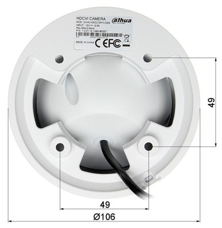 KAMERA WANDALOODPORNA HD-CVI, PAL DH-HAC-HDW2221EMP-A- 0280B - 1080p 2.8mm DAHUA